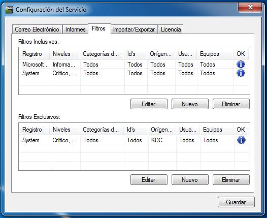 OSC Event Watcher - Configuración de Filtros