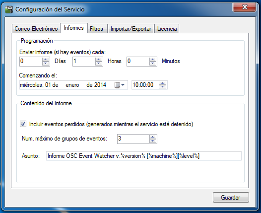 OSC Event Watcher - Configuración de Informes